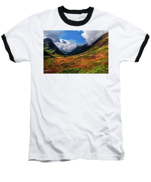 The Valley Of Three Sisters. Glencoe. Scotland Baseball T-Shirt by Jenny Rainbow