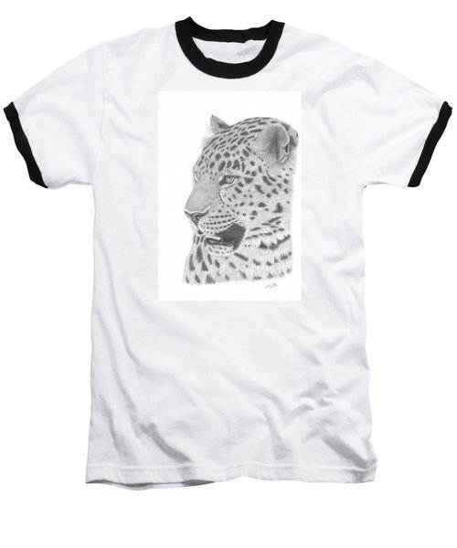 The Watchful Leopard Baseball T-Shirt by Patricia Hiltz