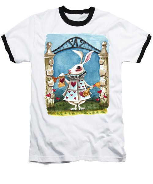 The White Rabbit Announcing Baseball T-Shirt by Lucia Stewart