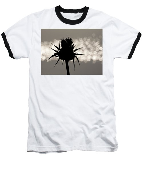 Thistle Silhouette - 365-11 Baseball T-Shirt by Inge Riis McDonald