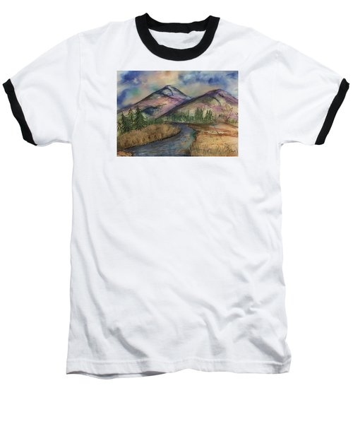 Baseball T-Shirt featuring the painting Thoughts Of Glacier by Annette Berglund