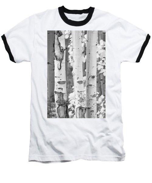 Three Aspens In Black And White  Baseball T-Shirt