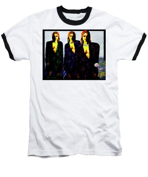 Three  Beautiful Triplet Ladies Baseball T-Shirt