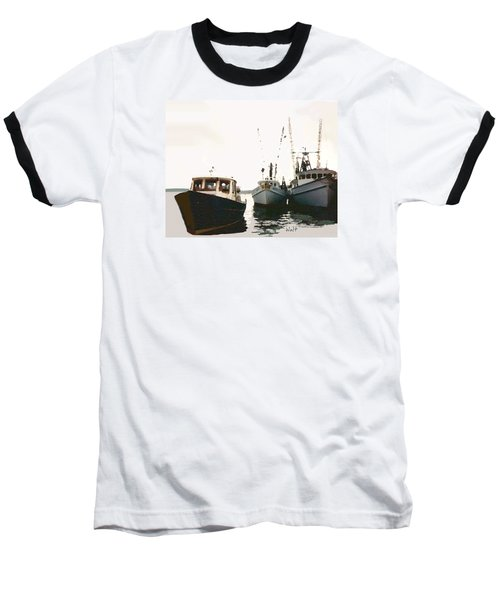 Three Boats Baseball T-Shirt by Walter Chamberlain