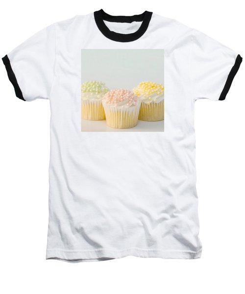 Three Cupcakes Baseball T-Shirt by Art Block Collections