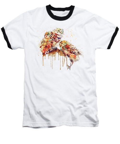 Three Cute Owls Watercolor Baseball T-Shirt by Marian Voicu