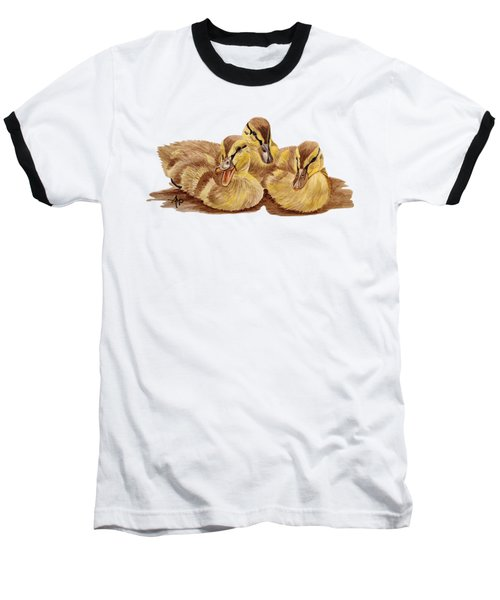 Three Ducklings Baseball T-Shirt by Angeles M Pomata