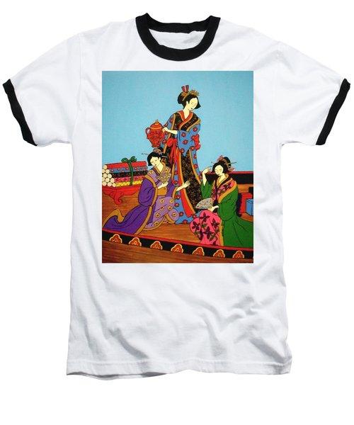 Three Geishas Baseball T-Shirt by Stephanie Moore