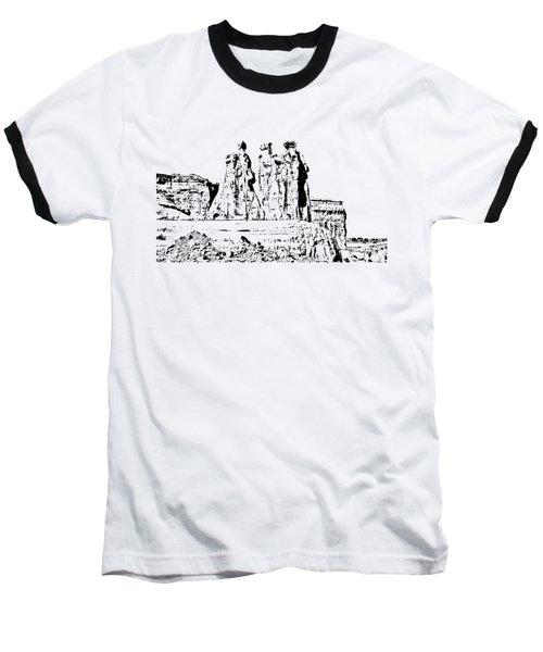 Three Gossips Drawing Baseball T-Shirt by John M Bailey
