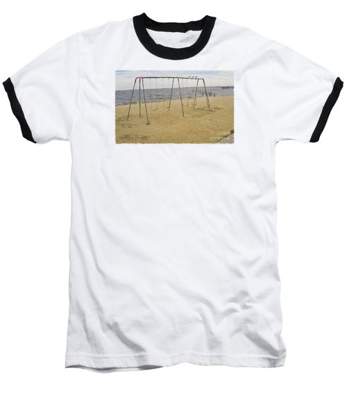 Baseball T-Shirt featuring the photograph Three Gulls And A Swing Set by Melissa Messick