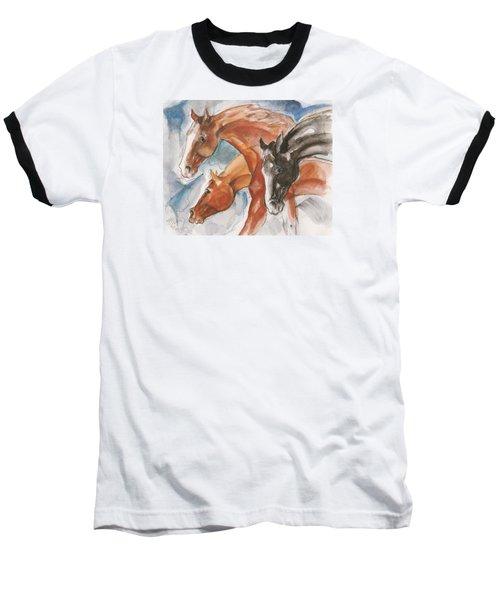 Three Horses Baseball T-Shirt by Mary Armstrong