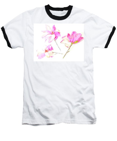 Three Magnolia Flowers Baseball T-Shirt by Linde Townsend
