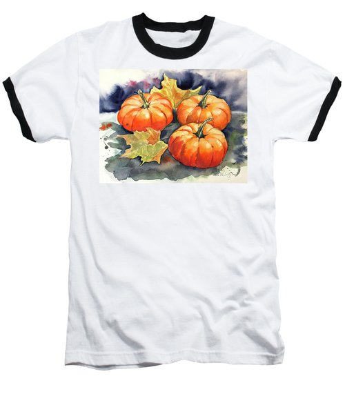 Three Pumpkins Baseball T-Shirt