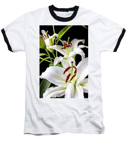 Three White Lilies Baseball T-Shirt by Garry Gay