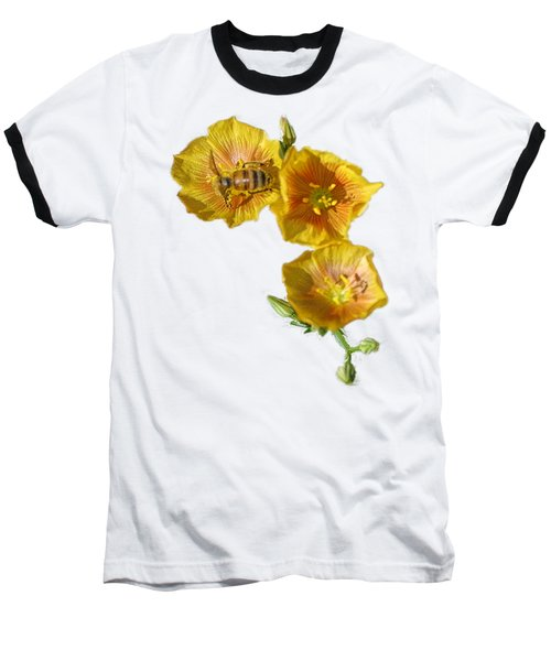 Three Yellow Flowers With A Bee Baseball T-Shirt