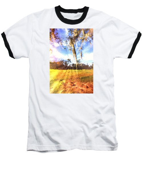Baseball T-Shirt featuring the painting Through The Moss by Annette Berglund