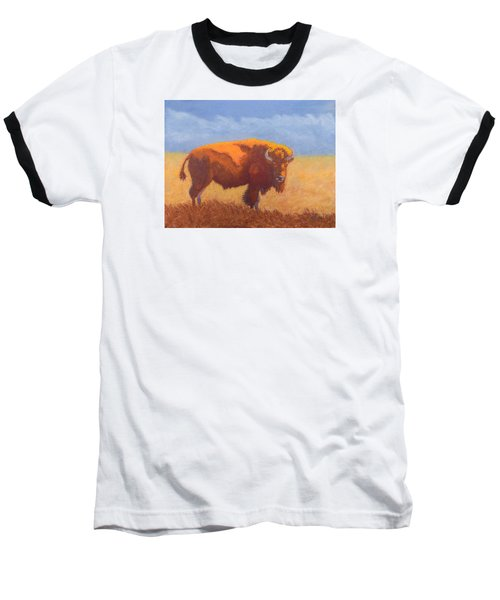 Baseball T-Shirt featuring the painting Thunder On The Prairie by Nancy Jolley