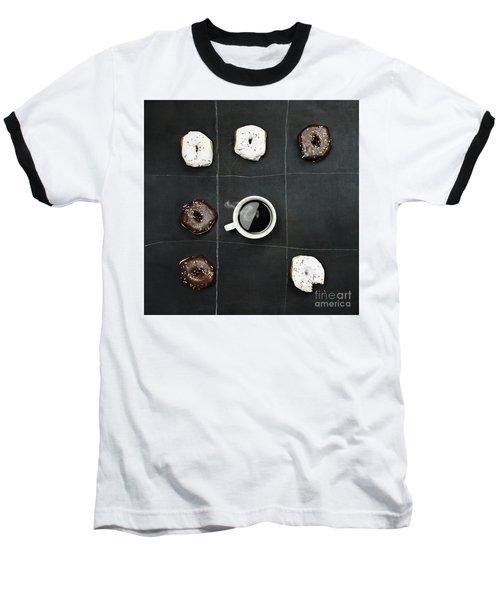 Tic Tac Toe Donuts And Coffee Baseball T-Shirt by Stephanie Frey