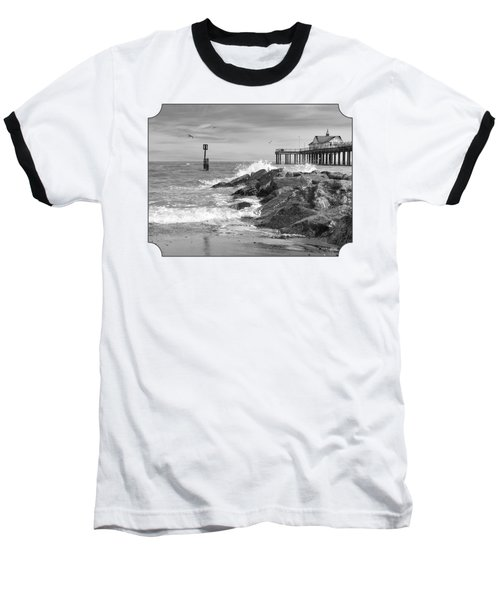 Tide's Turning - Black And White - Southwold Pier Baseball T-Shirt
