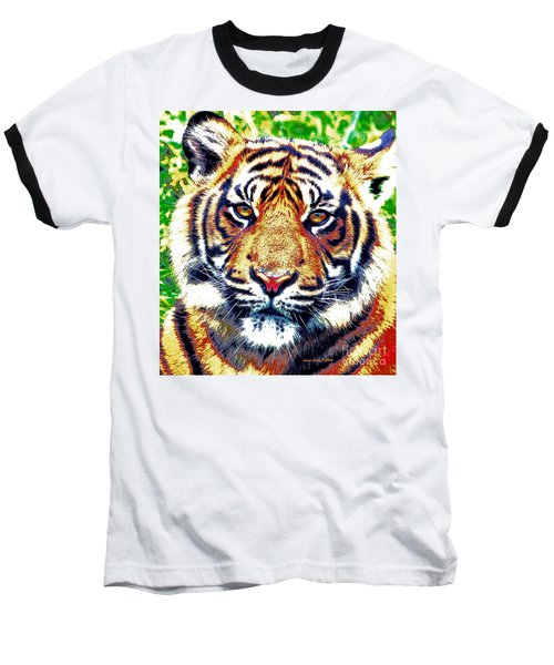 Baseball T-Shirt featuring the painting Tiger Art by Annie Zeno