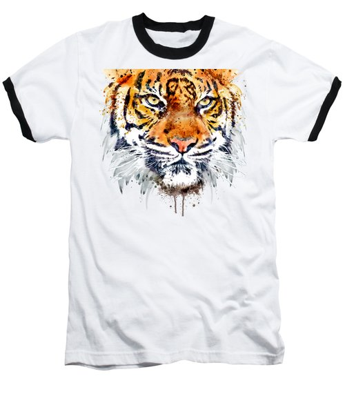 Baseball T-Shirt featuring the mixed media Tiger Face Close-up by Marian Voicu
