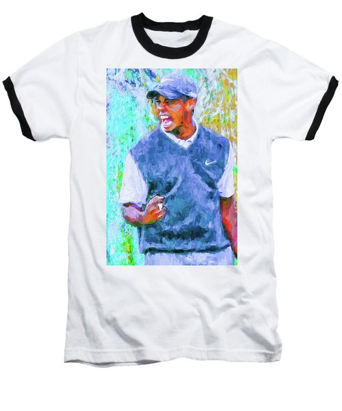 Tiger One Two Three Painting Digital Golfer Baseball T-Shirt by David Haskett