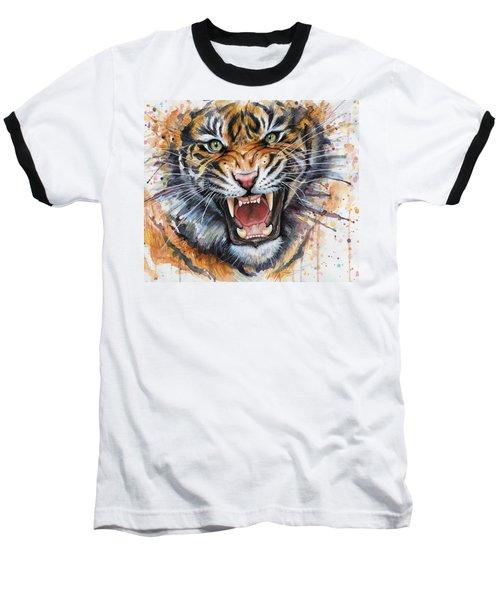 Tiger Watercolor Portrait Baseball T-Shirt