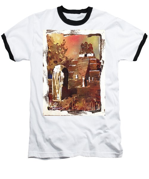 Tikal Mayan Ruins- Guatemala Baseball T-Shirt by Ryan Fox