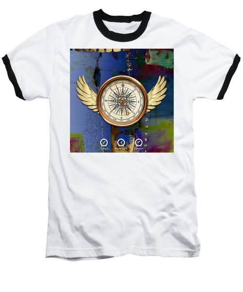 Baseball T-Shirt featuring the mixed media Time Flies by Marvin Blaine