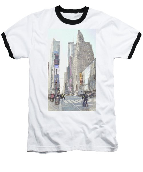 Times Square Street Scene Baseball T-Shirt by Dyle Warren