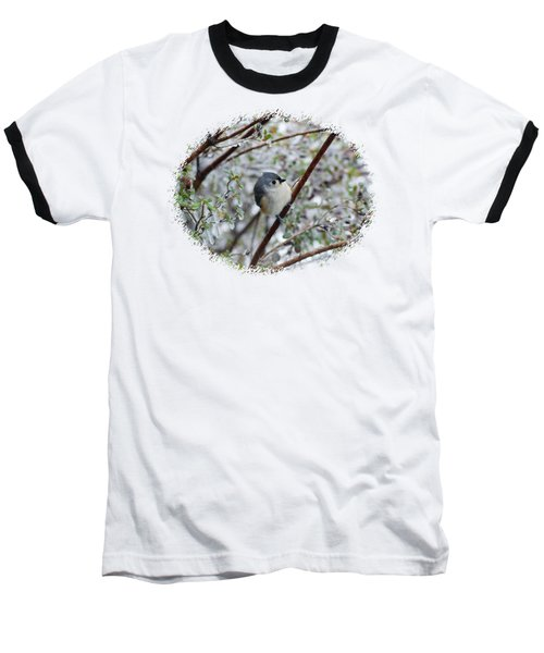 Titmouse On Snowy Branch Baseball T-Shirt