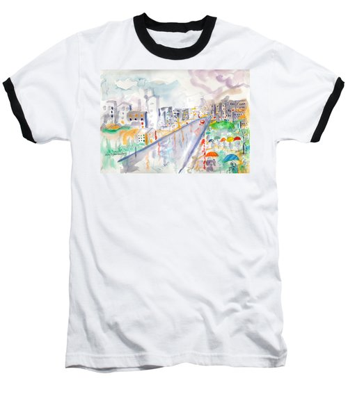 Baseball T-Shirt featuring the painting To The Wet City by Mary Armstrong