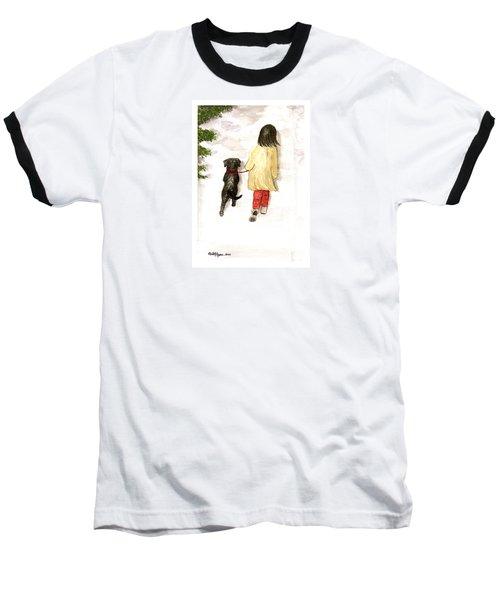 Together - Black Labrador And Woman Walking Baseball T-Shirt
