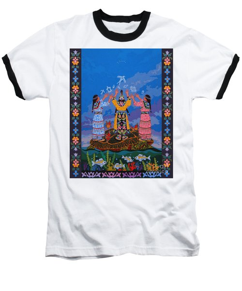 Baseball T-Shirt featuring the painting Together We Over Come Obstacles by Chholing Taha