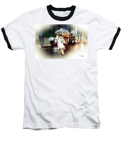 Rainy Tokyo Night Baseball T-Shirt