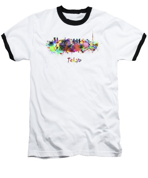 Tokyo V2 Skyline In Watercolor Baseball T-Shirt by Pablo Romero