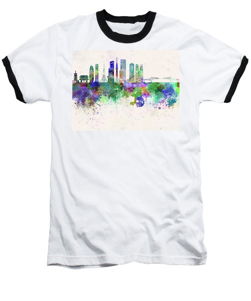 Tokyo V3 Skyline In Watercolor Background Baseball T-Shirt by Pablo Romero