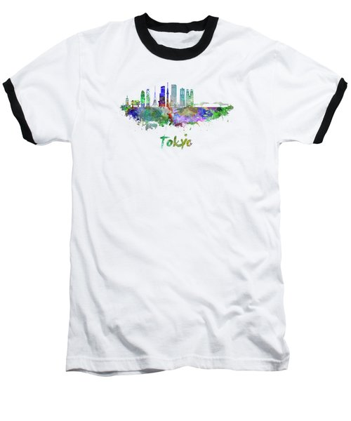 Tokyo V3 Skyline In Watercolor Baseball T-Shirt by Pablo Romero