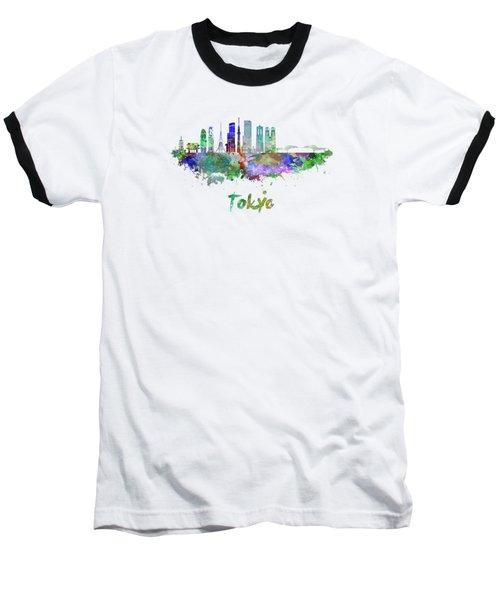 Tokyo V3 Skyline In Watercolor Baseball T-Shirt by Pablo Romero