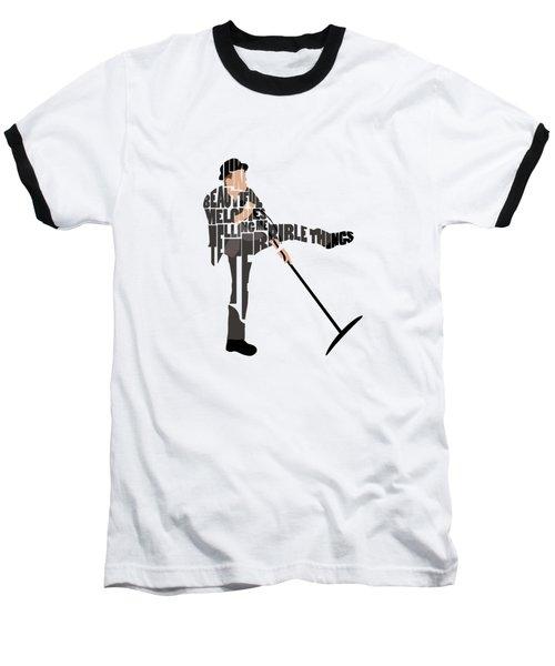 Tom Waits Typography Art Baseball T-Shirt