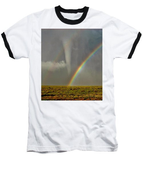 Tornado And The Rainbow II  Baseball T-Shirt by Ed Sweeney