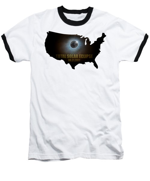 Total Solar Eclipse In United States Map Outline Baseball T-Shirt
