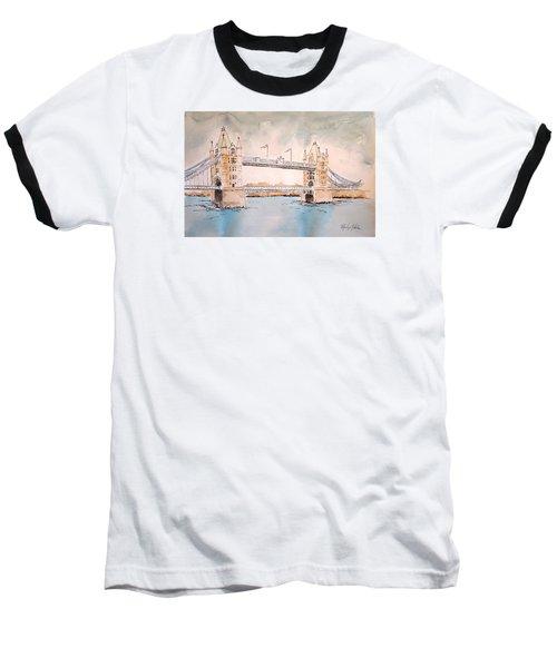 Tower Bridge Baseball T-Shirt by Marilyn Zalatan