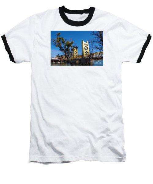 Tower Bridge Old Sacramento Baseball T-Shirt by Debra Thompson