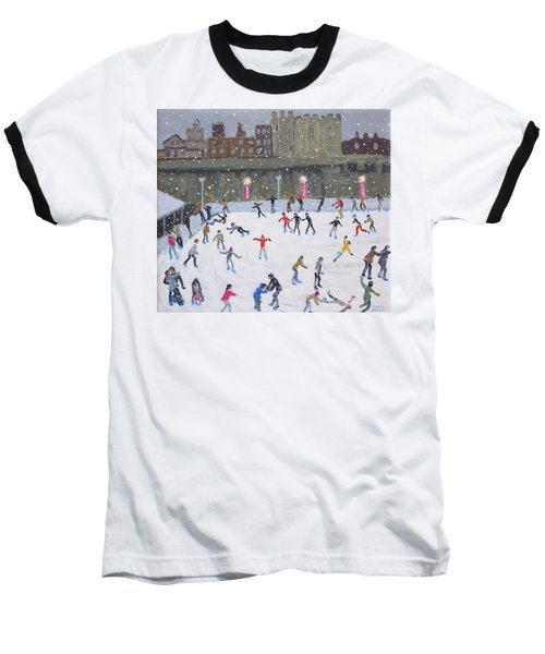 Tower Of London Ice Rink Baseball T-Shirt by Andrew Macara