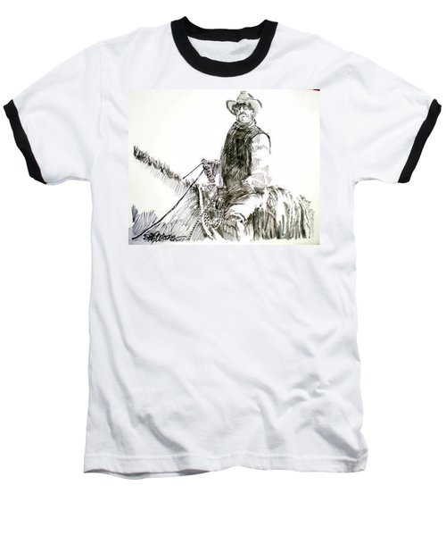 Baseball T-Shirt featuring the drawing Trail Boss by Seth Weaver