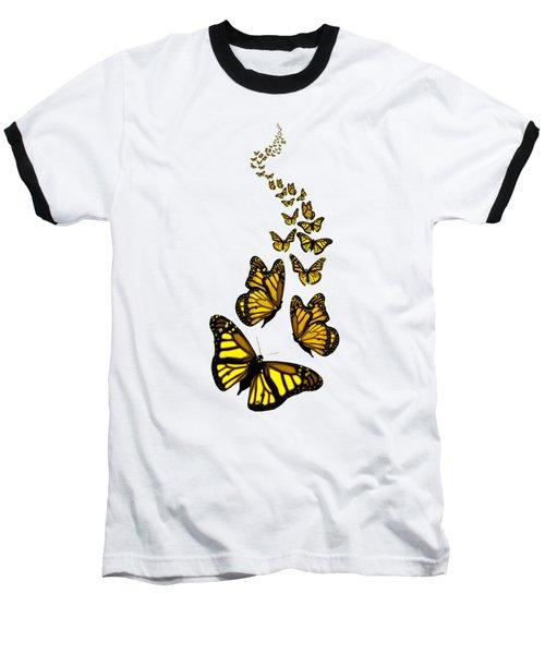 Trail Of The Yellow Butterflies Transparent Background Baseball T-Shirt