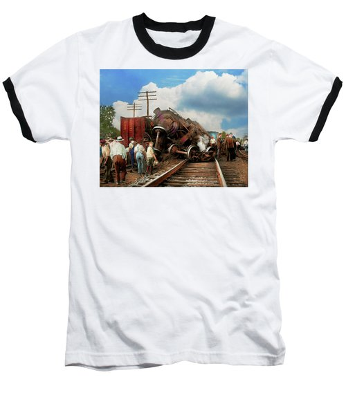 Train - Accident - Butting Heads 1922 Baseball T-Shirt by Mike Savad