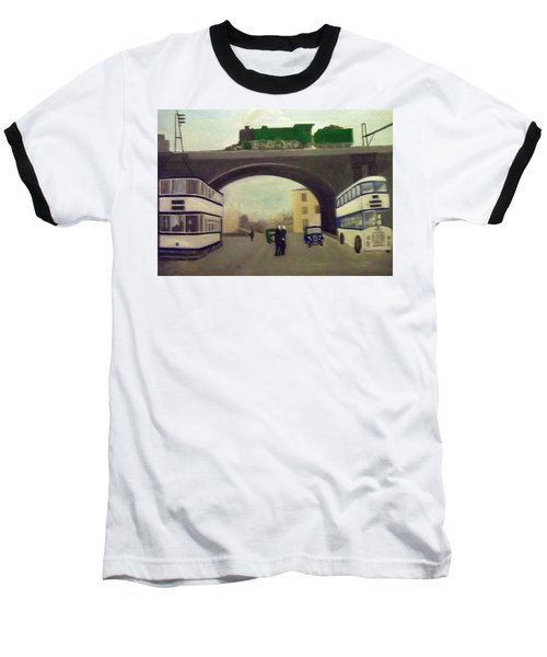 1950s Tram, Locomotive, Bus And Cars In Sheffield  Baseball T-Shirt