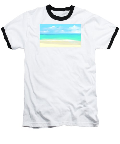 Baseball T-Shirt featuring the digital art Tranquil Beach by Anthony Fishburne